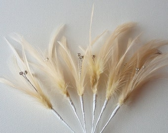 6 x Champagne Feather Sprig With 3 diamantes