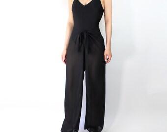 VINTAGE Sheer Black Pants Tie Waist Swimsuit Cover Up