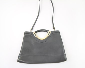VINTAGE Grey Purse 1970s Gold Metal Handbag