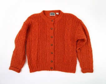 VINTAGE Orange Mohair Cardigan Sweater