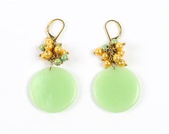 VINTAGE 1960s Earrings Beaded Cluster Green Pastel Pierced