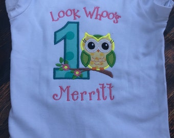 Look Whoo's Owl First Birthday Shirt, Owl First Birthday, Fun Owl Birthday Shirt, First Birthday Shirt, Owl Shirt, Owl 1st Birthday