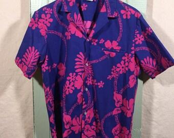 Vintage Aloha Hawaiian Shirt, Tropical print shirt, Hawaiian print short sleeve shirt, Purple floral print shirt