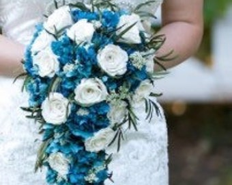 Everlasting Blue bridal bouquet