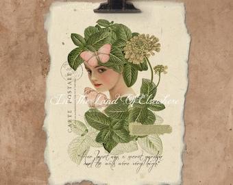 Artisan Her Heart Was A Secret Garden Handmade Paper Print.