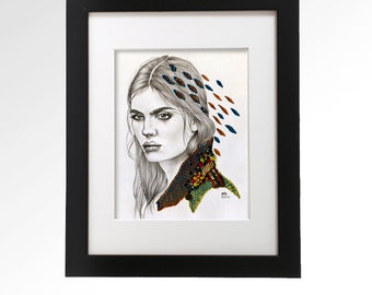 Cara. Original mixed media artwork with semiprecious stone and embroidery on paper. 8 x 10. Fine Art.
