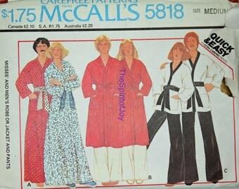 Size Medium 14 16 McCall 5818 Robe Jacket Pants Bath House Karate Retro Vintage 1970s Unisex Mens Womens Misses Uncut Sewing Pattern