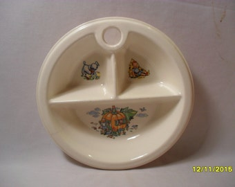 Awesome Vintage Promotional Advertising Divided Pottery Baby Dish