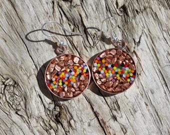 Micromosaic Earrings in Copper Bezels