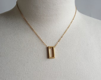 Simple Geometry - Rectangle Geometric Brass Necklace