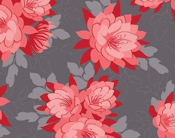 Desert Bloom Fabric Main in Gray by Amanda Herring - Half Yard