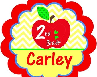 ON SALE:Back to School Primary Colors, School, scallops, apples and hearts Back to School. Bright and fun iron on from Giggles to Go