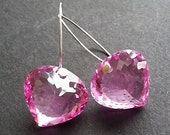 VALENTINES DAY SALE Large Pink Quartz Heart Shaped Drop Earrings Pink Gemstone Earrings on Sterling Silver Valentines Day Gift Simple Elegan