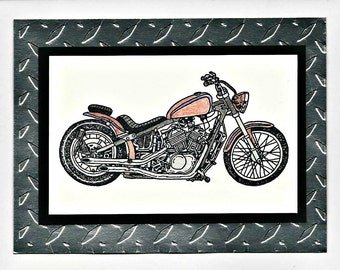 Motorcycle Themed Masculine Greeting Card - Birthday - Thank You - Encouragement - Congratulations - Anniversary