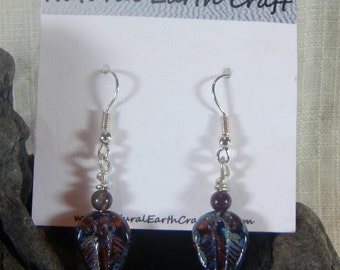 Dark brown black trilobite earrings Czech glass agate fossils semiprecious stone jewelry packaged in a gift bag 2415 A B E