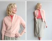 1950s Sweater // Bramson Cashmere Pink Sweater // vintage 50s cashmere cardigan
