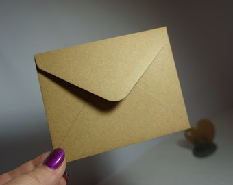 25 or 50 Small Kraft Envelopes ~ 110mm x 85mm ~ *Thank You *RSVP *Gifts *Flowers *Notes*DIY* + Post