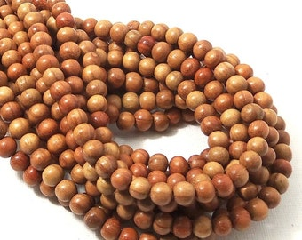 Narra Wood, 6mm, Light to Medium, Golden Brown, Round, Smooth, Natural Wood Beads, Small, 16 Inch Strand - ID 1653-LT