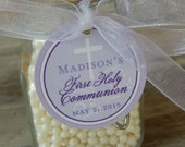 "First Communion Custom Catholic Favor Tags - For Cake Pops - Cookies - Party Favors - (40) 1.5"" Personalized Printed Circle Tags"