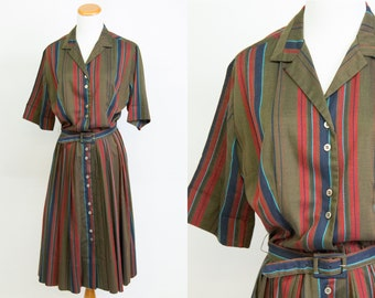 Vintage 1950s Olive Green Red Navy Blue Striped Dress * 50s Collared Pleated Skirt Belted Housedress Mad Men * Size Medium * FREE SHIPPING