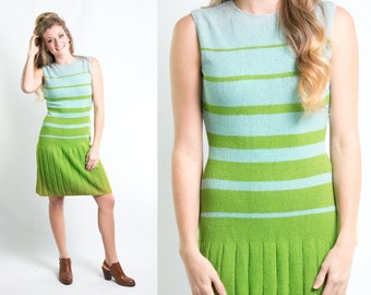 Vintage 1960s Aqua Green Striped Sweater Knit Dress w/ Pleated Skirt * Preppy 60s Sleeveless Shift * Size Small * FREE SHIPPING