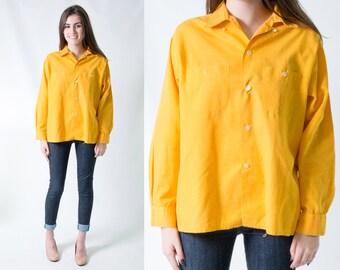 Vintage 1960s Retro Goldenrod Yellow Beach Shirt * Mustard Gold Buttondown Blouse * Size Large X-large XL * FREE SHIPPING