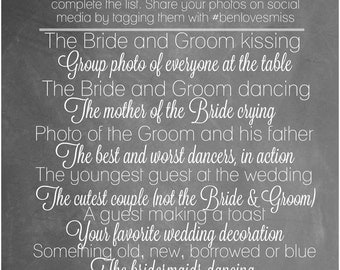 Wedding I Spy Game - Chalkboard - Wedding Decorations - Printables - Game for Wedding Guests - Wedding Game - Ready to Print - Reception