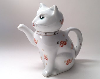 Chinese Cat Pitcher Tea Pot Hand-Painted & CUTE!