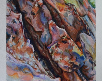 ORIGINAL Watercolor and Prismacolor Painting: New Mexico Rock