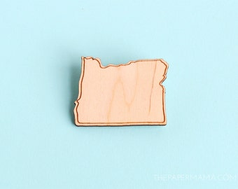 Wooden Oregon Pin - Brooch