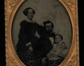 Large Half Plate Ambrotype of Family Late 1850s