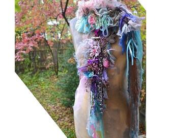 Unique Romantic Art To Wear Feminine Soft Small Scarf BLUE ANTOINETTE Boho Gipsy Fairy Tattered
