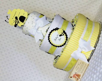 Bees Baby Diaper Cake Shower Gift or Centerpiece