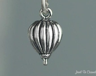 Miniature Sterling Silver Hot Air Balloon Charm Small Tiny Solid .925