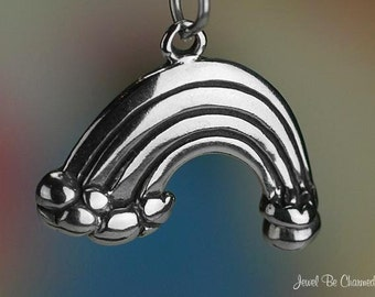 Sterling Silver Rainbow Charm Cloud Pot of Gold at the End Solid .925