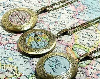 CUSTOM Vintage Map Locket. You Pick Any City, State, or Country Worldwide. One Locket. Necklace. Jewelry. Personalized Locket. Boho Jewelry.