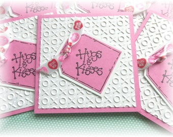 Hugs and Kisses - Mini Cards - XOXO - 3x3 cards WITH envelopes (6)