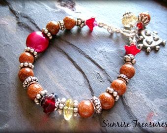 Sunstone Bracelet, Bali Sterling Silver, Boho Gemstone Bracelet, Red Coin Pearl Charm Bracelet, Citrine, Semi Precious Gemstone Jewelry