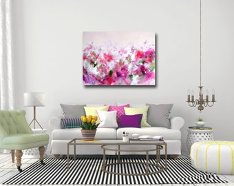 Large Canvas Art, Wall Art, Pink and Green Abstract Print, Giclee Print, Large Abstract Art Print from Painting,  Modern Pink Abstract Art