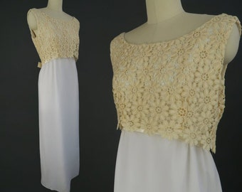 1960s Empire Waist Wedding Dress / Vintage Column Dress