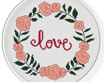 INSTANT DOWNLOAD,Free shipping,Cross stitch pattern, PDF,Floral Frame ,love,zxxc0629