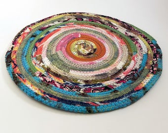 "Multicolor Fabric Placemat, Jeweled Stripes Vintage Look, Handmade Round Cloth Table Mat, Diameter 12"", Washable, Absorbent, Boho Home Decor"