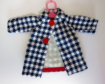 Vintage Doll Coat Vintage Doll Clothes Hand Made Black and White Red Buttons Houndstooth Check Fashion Doll Girl Birthday Gift MY3