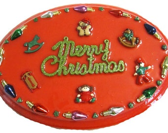 Red Merry Christmas Plaque