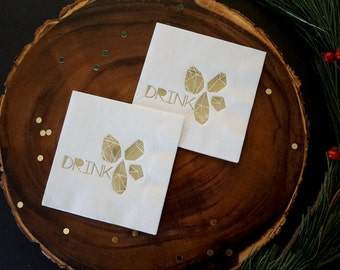 Drink Gem and Diamonds Cocktail Napkins,  Gold Foil Stamp, Cocktail Parties, Birthday Party, 20 CT.