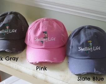 Beach Mermaid Hat - Embroidered Hat - Shelling Life Mermaid - Pink, Dark Gray, Slate Blue, Khaki