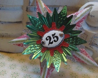 December 25 Red and Green Assemblage Christmas Star Ornament