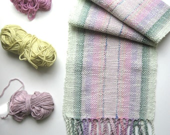 The 'Pastel Fluorite and Tourmaline' Handwoven Scarf for Kids or size Small Woman