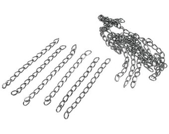 100 pcs. - Silver Tone Extender Extension Chain Links Tails - 2 inch each (50mm) - 50x3mm