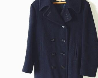 Vintage, 1960s, Shearton Sportswear, Mens Size 36, Unisex, Black, Wool, Winter, Jacket, Pea Coat